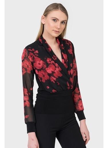 Çiçek Desenli Şifon Bluz-İroni